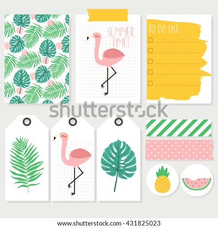 set of colorful summer cards