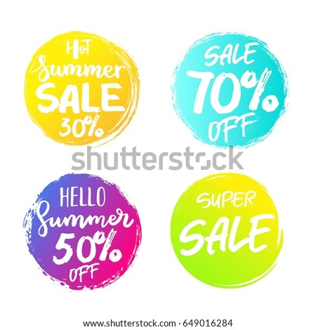 Set of colorful summer sale  circles, signs, badges, stickers, backgrounds for advertising, text, business, promotion, speech bubbles. Summer hand written lettering.