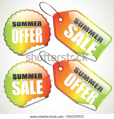 Set of colorful summer sale tags and stickers