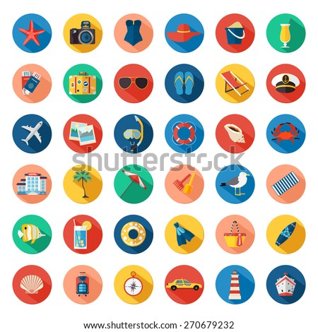 Set of colorful summer vacation, beach, seaside marine icons with long shadows. Flat style design. Vector illustration