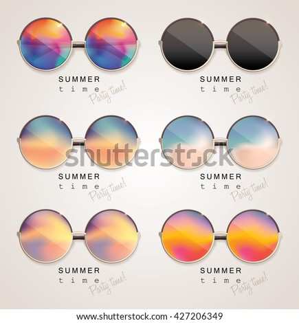 set of colorful sunglasses with