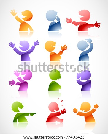 Set of colorful talking characters in various postures - perfect for infographics or comics