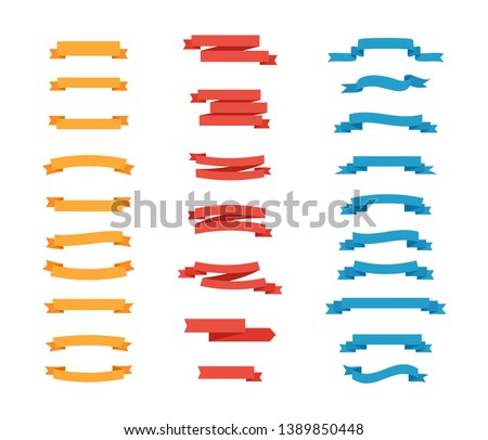 Set of colorful Tapes in flat design. Vector Ribbons Banners isolated. Ribbons Banners collection. Vector illustration