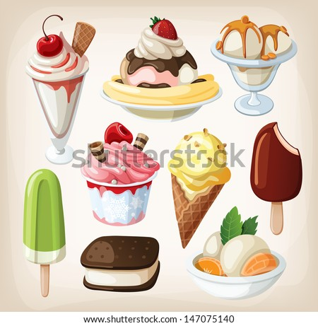 set of colorful tasty isolated
