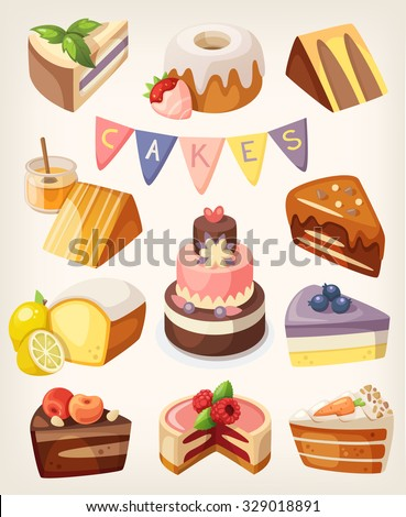 Set of colorful tasty pieces of cakes, slices of pies, and other bakery desserts