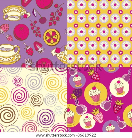 set of colorful tea&sweets patterns