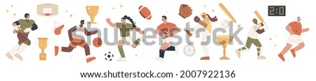 Set of colorful team sport cartoon characters of different nationality, diverse professional athletes with cups and trophies, winners healthy lifestyle. Vector illustrations set on white background Photo stock ©