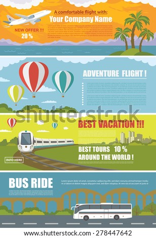 Set of Colorful Travel Banners with Flat Design. Flying airplane, Train, Bus, Hot Air Balloon.\ Transportation.