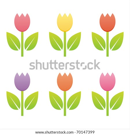 set of 6 colorful tulips