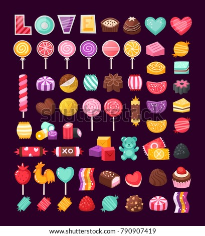 Set of colorful Valentine sweets for loving couples. Vector candies decorated with valentineâ??s day elements and ornaments made in bright untraditional colors.