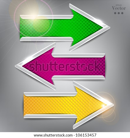 Set of colorful vector arrows. Website elements.