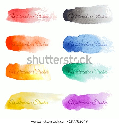 set of colorful vector brush