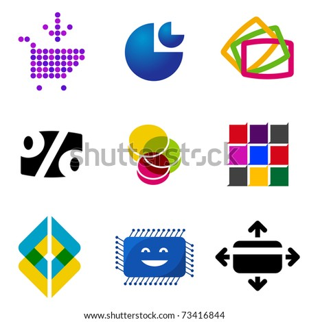 set of colorful vector design elements on white