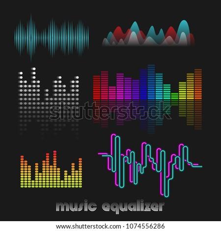 Set of colorful vector digital music equalizer. Audio waves design template. Audio signal visualization. Dj vector illustration