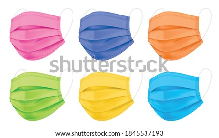Set of colorful vector face masks. Coronavirus protection 3 ply medical mask in a side view, isolated on a white background. Pink, purple, orange, green, yellow, and blue disposable surgical masks.