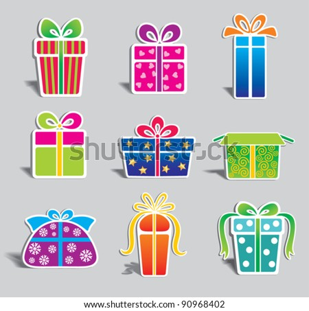 set of  colorful vector gift boxes .