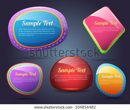 Set of colorful vector Icon Banner Shape
