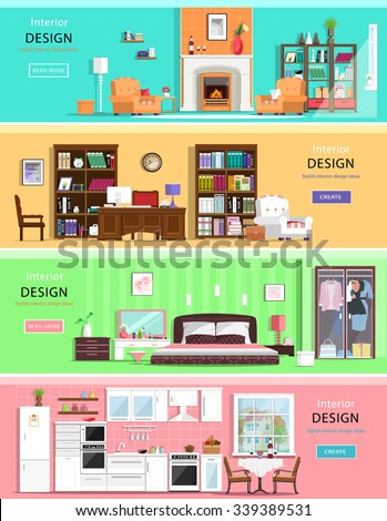 set of colorful vector interior