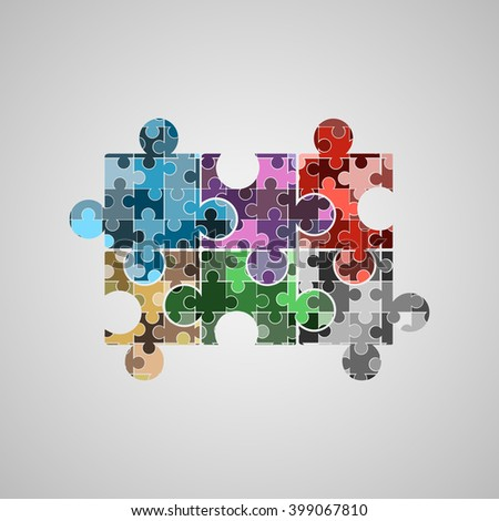 set of colorful vector puzzles