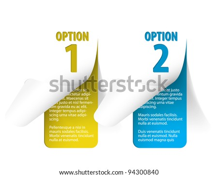 Set of Colorful Vector Sample stickers for various options - vertical (blue and yellow)