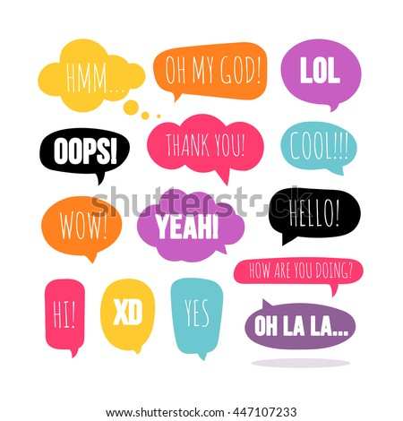 Set of colorful vector speech and thought bubbles