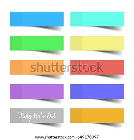 Set of colorful vector sticky notes with shadows