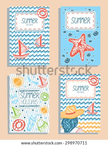 set of colorful vector summer