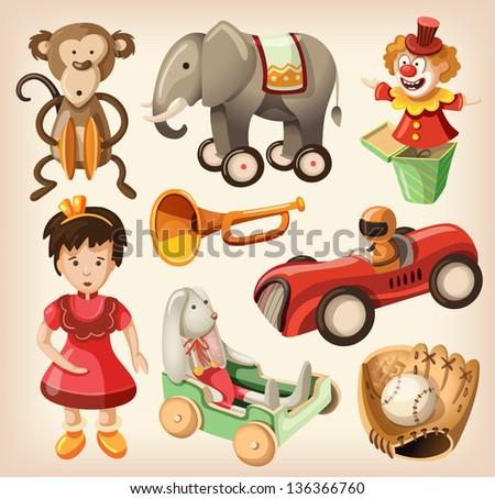 Set of colorful vintage toys for kids.