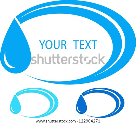 set of colorful water sign with place for text and drop