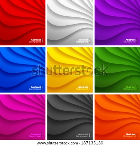 Set of 9 Colorful Wavy backgrounds Vector Illustration