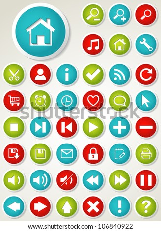 Set of colorful web buttons. Vector illustration.