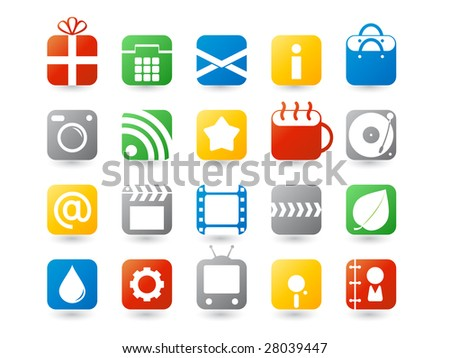 set of colorful web icons