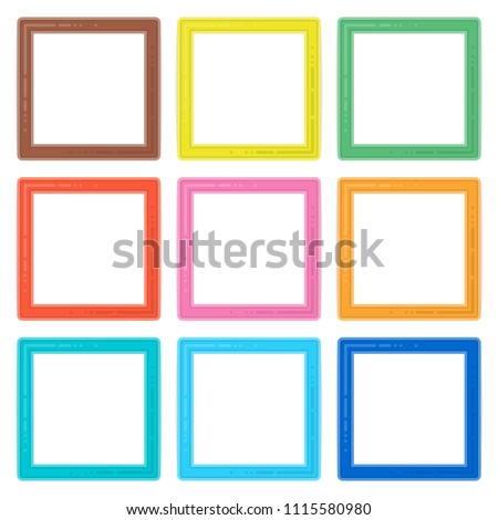 Set of colorful wooden frames. Colorful Wooden square picture frame set for your web design. Abstract colored frameworks isolated on white background. Vector illustration in flat style. EPS 10.