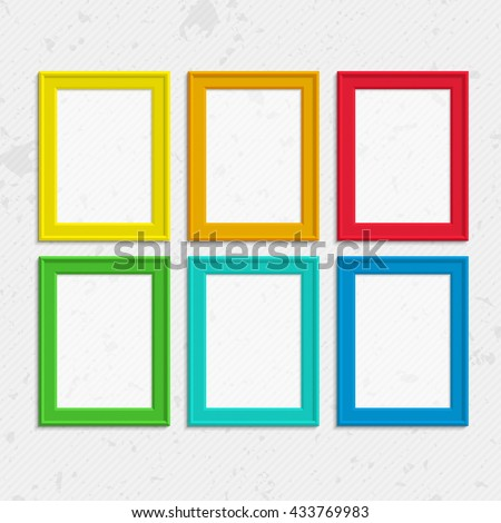 Set of colorful wooden frames. Wooden square picture frames of colorful set for your web design. Abstract colorful picture frames on vintage background. Vector set of color photo frames on the wall. #433769983