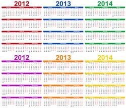 Set of colour 2012, 2013 and 2014 Calendar
