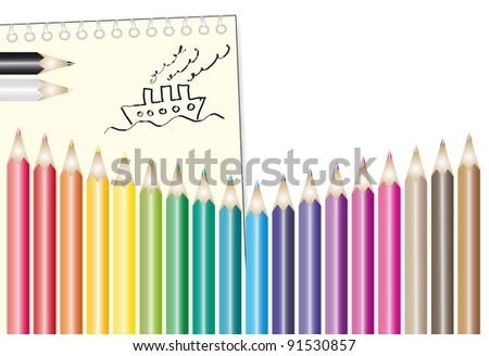 Set of colour pencils with notepad and kids drawing
