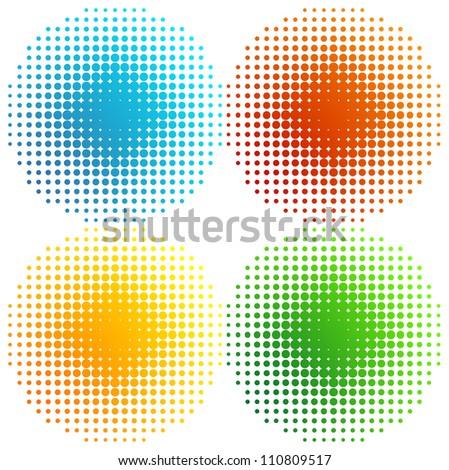 Set of coloured halftones