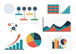 set of colourful business charts and diagram, infographic template flowchart isolated vector graphs image