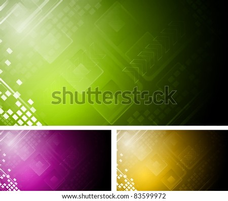 Set of colourful hi-tech backgrounds. Eps 10