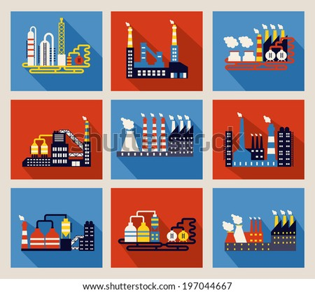 Set of colourful vector industrial factory buildings and refineries on red and blue backgrounds with long shadows and chimneys emitting smoke pollution