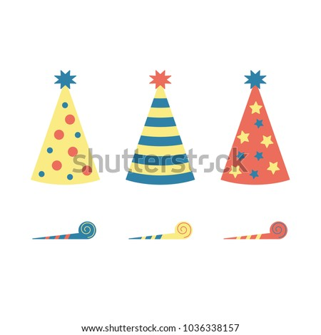 Set of colourful vector party hats and horn blowers