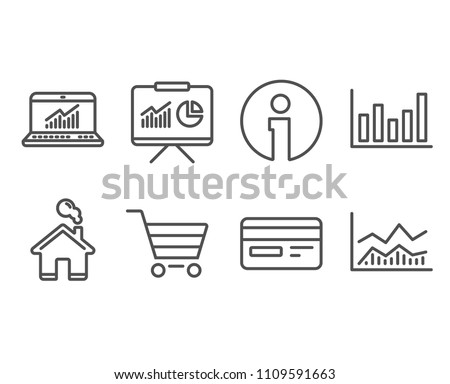 Set of Column chart, Credit card and Online statistics icons. Presentation, Market sale and Trade infochart signs. Financial graph, Card payment, Computer data. Vector