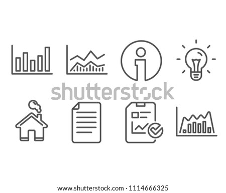 Set of Column chart, File and Trade infochart icons. Report checklist, Idea and Infographic graph signs. Financial graph, Paper page, Business analysis. Sales growth file, Light bulb, Line diagram