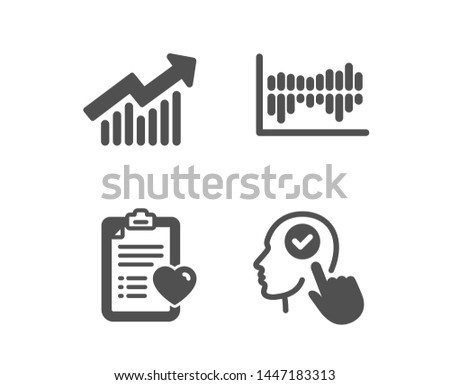 Set of Column diagram, Patient history and Demand curve icons. Select user sign. Sale statistics, Medical survey, Statistical report. Head with checkbox.  Classic design column diagram icon. Vector
