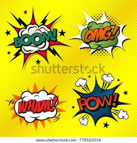 Set of comic book arts. BOOM, OMG, WHAM and POW!