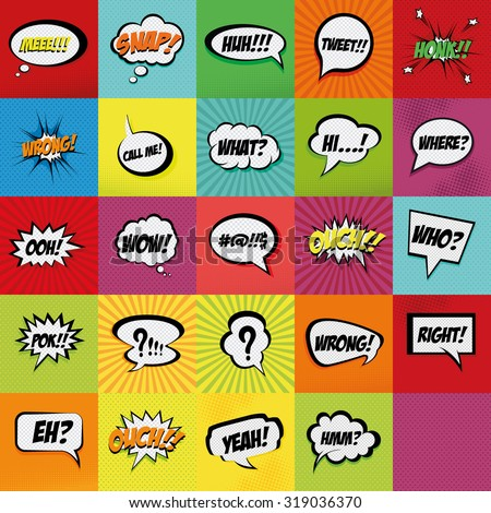 Set of comic expressions on colored backgrounds