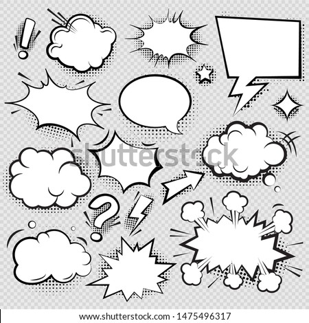 Set of comic speech bubbles and elements with halftone shadow effect in transparent background. Comic bubble collection word empty set design. Word bubbles, retro comic shapes. Think and speak clouds
