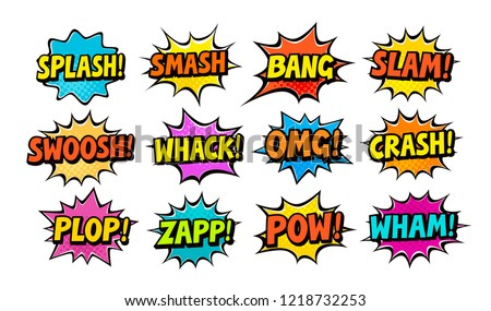 Set of comic speech bubbles. Cartoon vector illustration #1218732253