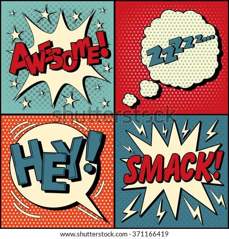 set of comic speech bubbles in...