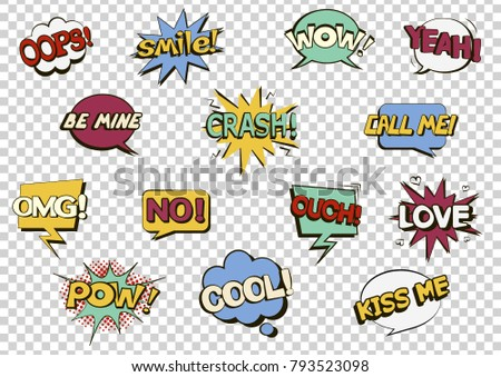 Set of comic speech bubbles on a transparent background. Pop art objects. Expressions Smile!, Cool, Call me, Oops, Wow, Love, Be mine, Crash! No! Ouch! Pow! Kiss me, Yeah! OMG! Vector illustration. Stock fotó ©